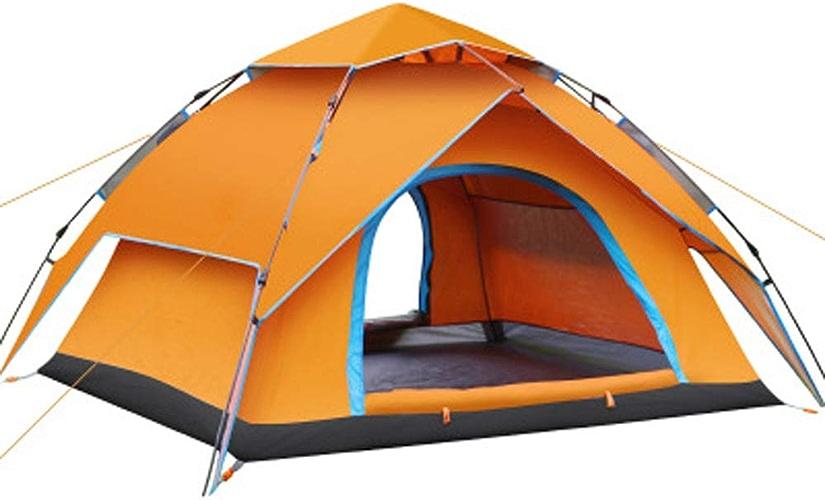 JHDUID Tente extérieure de Tente Solaire de Famille de Tente 3-4 Homme de Tente UV hydraulique extérieure de Plage pour Camper, extérieur, Jardin, pêche, Pique-Nique,Orange