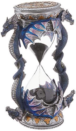 Design Toscano Todestürdrache Gothic-Deko Sanduhrstatue, Polyresin, vollfarbe, 15 cm