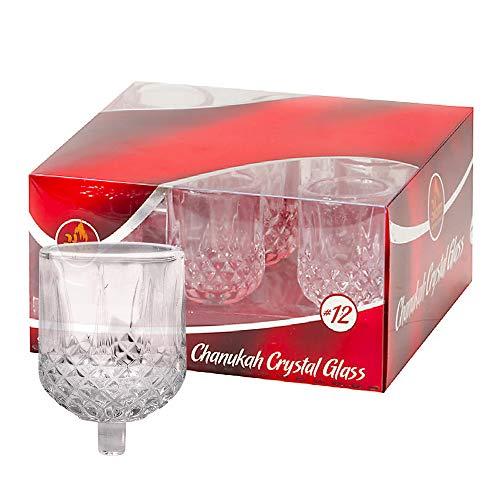 Hanukkah Menorah Oil Cups – Crystal Elegant Holders for Chanukah Menorah Oil or Shabbos Oil Candles – Durable Quality, Long-Lasting