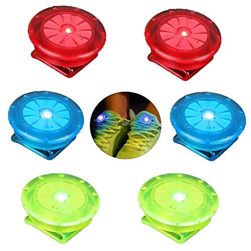 Linlook reflectoren knipperlicht voor kleding/schooltassen/schoenen, LED veiligheidslicht clip verlichting voor kinderen lopers kinderwagen hond fietsen, 6 stuks (rood blauw groen)