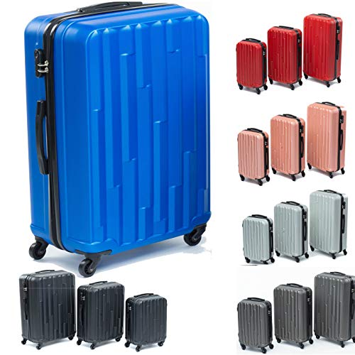 Koffer Hartschalenkoffer Trolley Kofferset Reisekoffer M-L-XL-Set HT Series (Blau, Set)