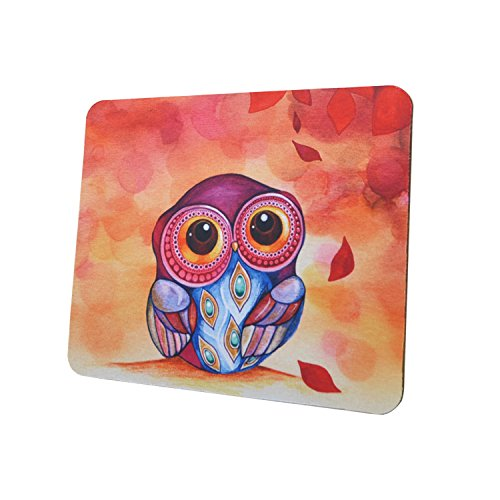 Gaming Mouse Pad Mat, 8 inch Non-Slip Rubber Mousepad , Silky Smooth Surface Edges for Computer ,Laptop& PC, 8 × 9 x 0.1 inches Rectangle, Owl