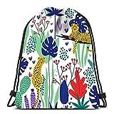 N / A Verstellbar Sport-Beutel,Drawstring Backpack Damen Herren,Kordelzug Rucksack Tasche,Jugendliche Drawstring Bag,Leoparden Und Tropische Blätter Haltbarer Schulrucksack