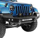 u-Box Wrangler Climber Front Bumper Full Width w/ 120W LED Light Bar & D Rings Rock Crawler Solid Steel for Jeep JK Wrangler 2007-2018