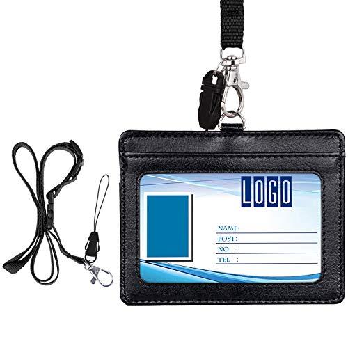 Porta badge, Wisdompro Porta carte di identità in pelle PU double face con cordino / tracolla regolabile da 23 pollici (contiene da 3 a 4 carte) - Nero (orizzontale)