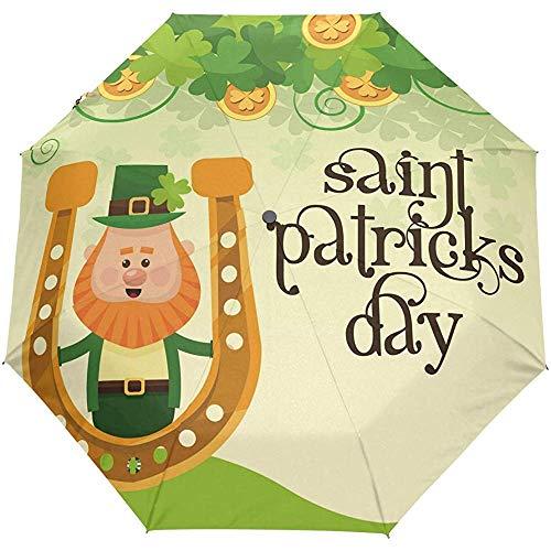 Patrick 's Day Clover Hufeisen Auto Regenschirm Goldmünzen Kleeblatt Kobold Regenschirme Winddicht