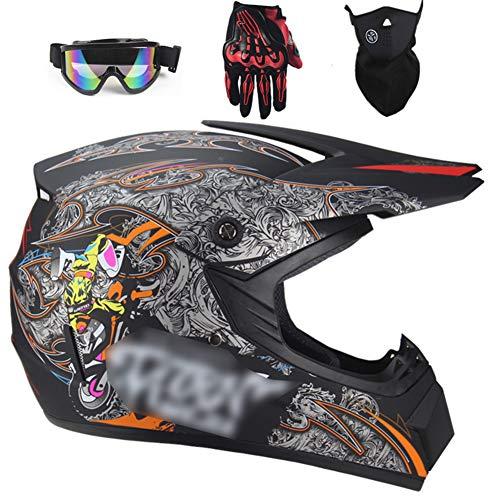 GAOZHE Casco de Moto, Casco de Motocross para Niños y Adultos con Gafas Descenso, Casco de MTB de Integrales, Casco de Cross para Quad Enduro Carreras Deportes Motocicleta con Diseño