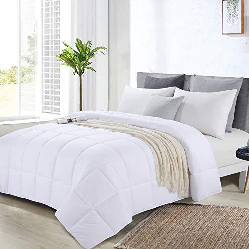 "HOMBYS Oversized King Comforter 120x128 Lightweight Down Alternative Comforter for All Season,White Quilted Duvet Insert with 8 Corner Tabs Microfiber Comforter (White, Oversized King Plus 120""x128"")"