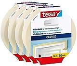 tesa Cinta adhesiva clásica en paquete de 4 unidades, para pegar en trabajos de pintura, sin disolventes, se retira sin dejar residuos, 4 rollos de 50 m cada uno.
