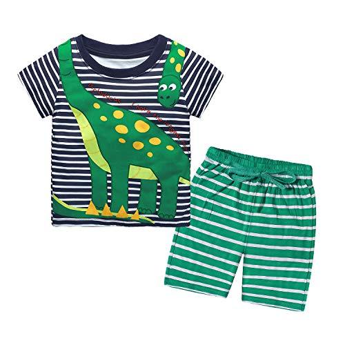 Nwada Junge Bekleidungsset Tshirt und Shorts Set Sommer Kleidung Dinosaurier Oberteil und Kurze Hose Outfit 18-24 Monate Grün
