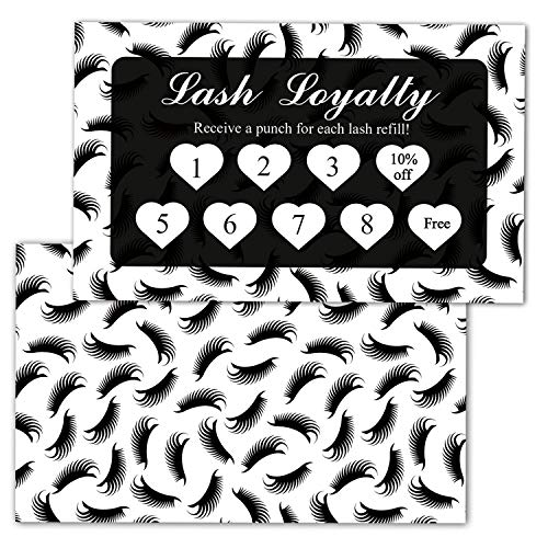 50 Lash Extension Loyalty Punch Cards 10% and Free, Lash Care Cards, Customer Loyalty Cards for Beauty Salons or Spas, Size 3.5 x 2 Inches Incentive Cards