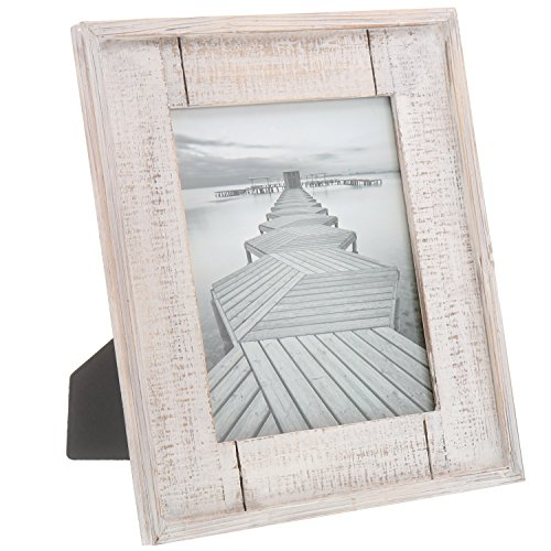 """Barnyard Designs Rustic Distressed Picture Frame 8"""" x 10"""" Wood Photo Frame in White"""