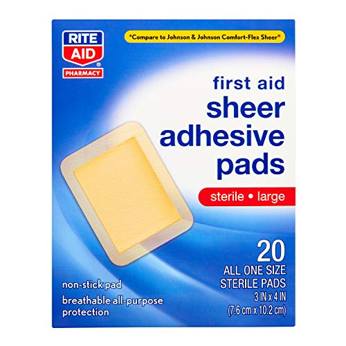Rite Aid Sheer Adhesive Bandages with Sterile Non Stick Pad, 3' x 4' - 20 Count | Latex Free | Wound...