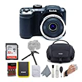 KODAK PIXPRO AZ252 Astro Zoom Digital Camera (Black) Bundle with 32GB Card, Case, Koah Nostrand Avenue Gadget Bag with Accessory Kit and Rechargeable Batteries