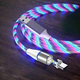 Câble de Charge magnétique de Type C, (3.3ft) Synchronisation des données de Charge Rapide 3A LED...