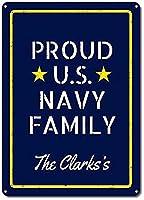 アメリカ海軍、カスタム誇りアメリカ海軍ファミリー 金属板ブリキ看板警告サイン注意サイン表示パネル情報サイン金属安全サイン