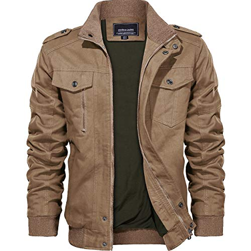 KEFITEVD Herren outwear winter-cargo-military-jacken multi pocket winddichtes windjacke mantel khaki-new xxl