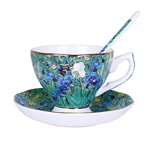 Vincent Willem Van Gogh Bone China Tea Cup and Saucer Set With Gift Box,'The Irises' Art Coffee Mugs Set