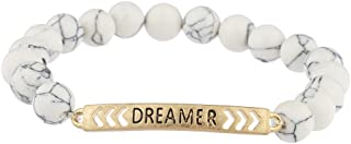 Lux Accessories Boho Burnished Gold Dreamer White Marble Beaded Stretch Bracelet