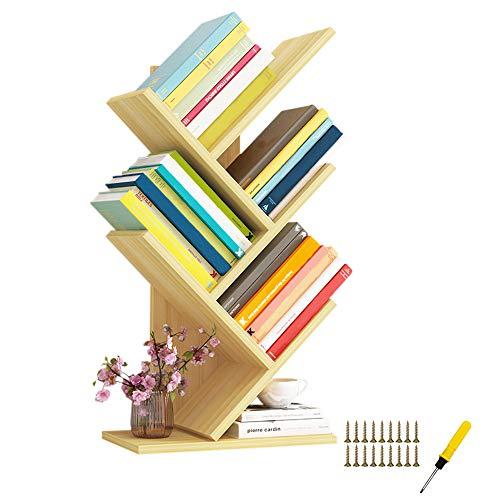 QUMENEY Tree Bücherregal, Bücherregal aus Holz, Bücherregal mit 5 Regalen - Premium-Bücher- / CD- / Album- / Aktenhalter, Displayregal-Organizer-Regale für Zuhause, Büro (Hellnuss)
