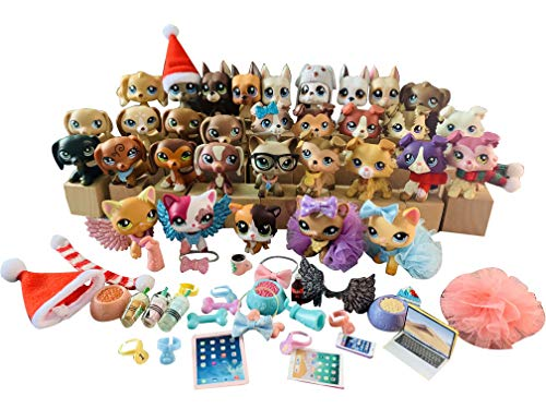 ZC lps Rare Figures 32pcs with lps Accessories lps Pet Lot Family lps Great Dane lps Collie lps Shorthair Cat lps Cocker Spaniel lps Dachshund Collectable Figures Christmas Gift for Kids