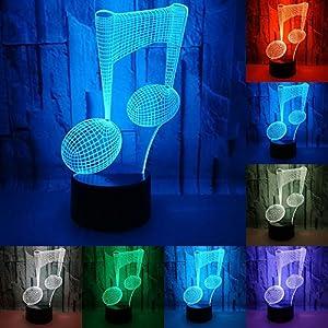 RUMOCOVO® Luz De Noche Nota Musical Lámpara 3D Luces De Dormir Niños Cumpleaños Presente Amante Regalos Música Lámpara Iluminación