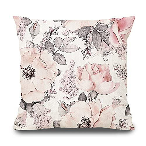 PPRLIFE Watercolor Pink Floral Decorative 18'x 18' Throw Pillow Cover - Blush Blosssom Grey Leaves Cotton Linen Cases for Couch Cushion Farmhouse Outdoor Decor