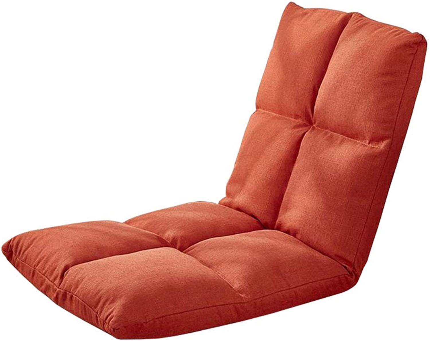 Folding Floor Chair Adjustable Backrest Home Gaming Couch Meditation Bay Window Computer Chaise (orange)