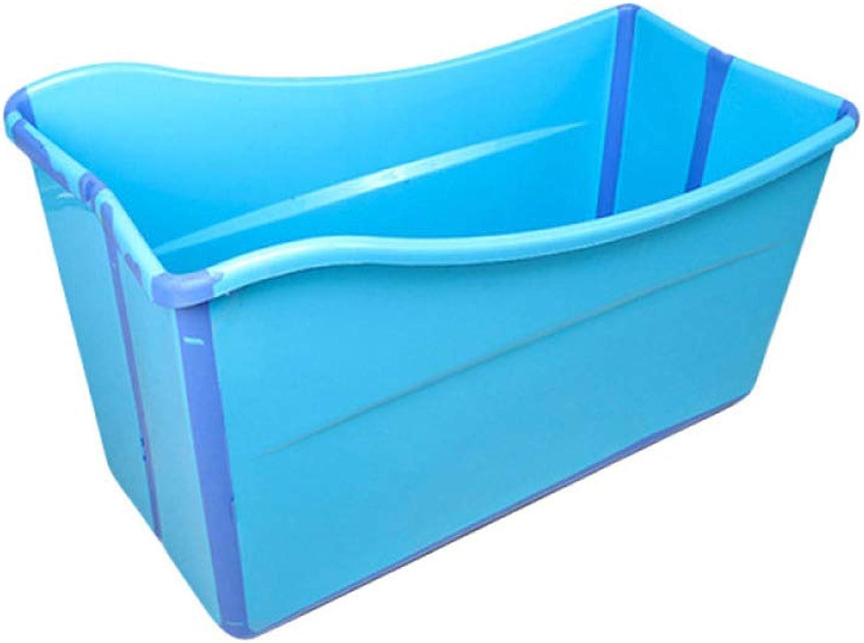 Mai Dou PVC Inflatable Bathtub Foldable Bathtub Thickening Adult Bathtub Plastic Bath Barrel color  Pink, bluee,bluee-93x46x55cm