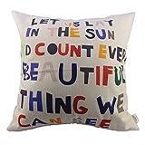 LanDu Beety P14 Cuadrado de Lino de algodón Frases significativas Cartas Coloridas Cojines de Almohada de Tiro Cojín, 18 x 18 Pulgadas, Beige