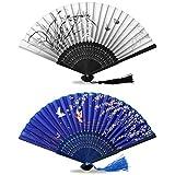 ONKING Japanischer Fächer für Damen Herren, Seide-Fächer Vintage Wand Faltfächer für Hochzeit Party Dekoration -2 Pack