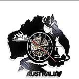 FUTIIF Horloge Murale en Vinyle Symbole Art Mural Horloge Murale Opéra Kangourou Koala Crocodile Caractère Australien Disque Vinyle Horloge Murale sans LED
