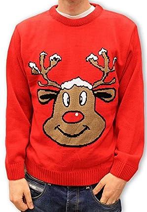 Christmas Jumper Retro Novelty - Smiling Reindeer Red - Unisex for Men & Women -Large