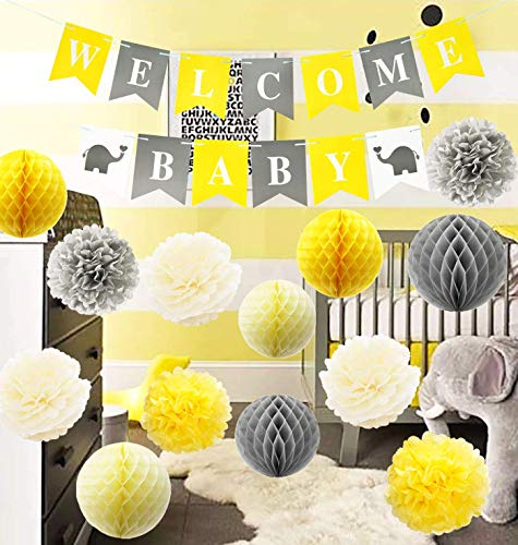 Furuix Yellow Grey Elephant Baby Shower Decorations Gray and Yellow Nursery Decor Honeycomb Balls Welcome Baby Banner/Gender Neutral Baby Decor/Yellow Gray Baby Shower Decorations Neutral