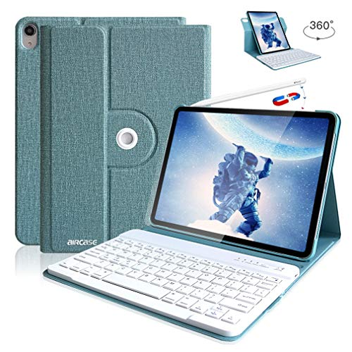 iPad Pro Keyboard Case 11 2018 - Wireless Detachable Keyboard [Support Apple Pencil Charging] - Ultra Slim PU Leather Folio Stand Cover with Pencil Holder with 360 Degree Rotate