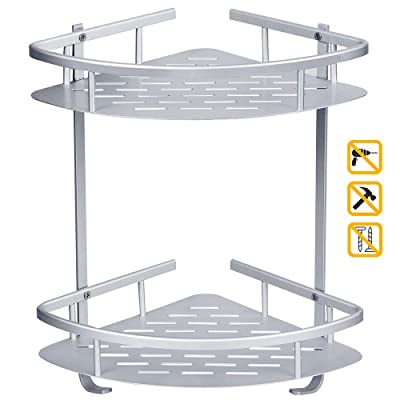 LOBKIN Bathroom Shelf Durable Aluminum 2 Tiers ...