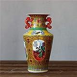 Vases Decoracin de cuatro bellezas chinas antiguas esmaltadas de cermica para sala de estar, decoracin del hogar, manualidades, amarillo, amarillo (color: amarillo)