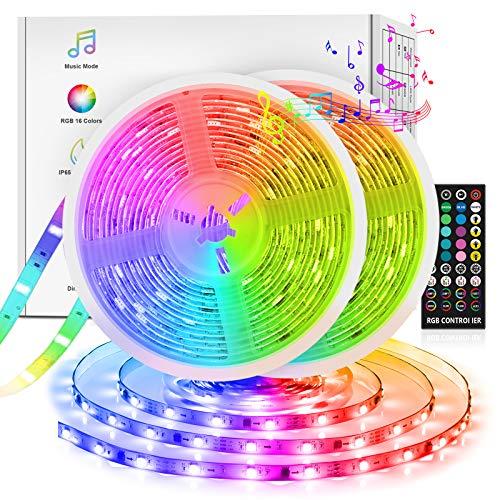 LED Strips 10m(5m*2), Fansteck SMD 5050 LED Streifen mit Timer, Sync mit Musik, Dimmbare Lichterkette mit Fernbedienung, IP65 Wasserdicht LED Lichtband Selbstklebende Lichtleiste für Aussenbereiche