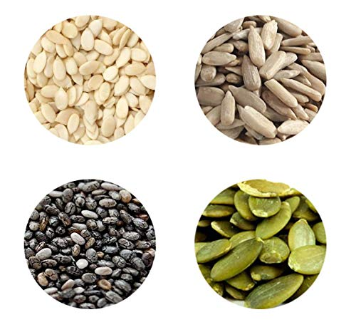 Organic Grocery Raw Seeds Mix for Eating - 1kg -Chia, Sunflower, Pumpkin & Watermelon (250g*4 Pack) (Super Saver Combo)