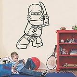 yaonuli Vinilo Decoración para el hogar Cartoon Ninja Vinilo Vinilo removible 45X46cm