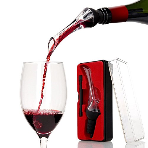 Katzs Luxury Red Wine Aerating Pourer and Decanter Spout(Woodpecker) Gift Box Set