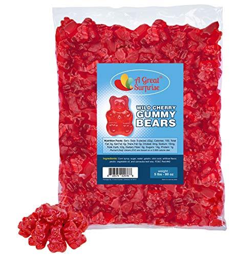Gummy Bears Bulk - Red Gummi Bears - Wild Cherry Gummy Bears - Red Candy - Bulk Candy Gummies 5 LB