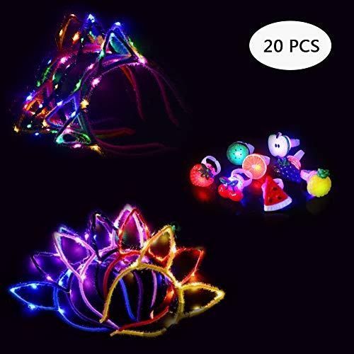 Yuccer Diadema Orejas de Gato luz LED Diadema Headwear Decoración Accesorio Mujeres Niñas Halloween Fiesta...