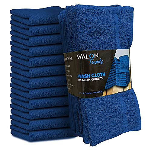 Avalon Towels Royal Blue Cotton Washcloths – 12x12 inches Value Pack of 24 - Made from Premium Ring-Spun Cotton – Highly Absorbent and Soft Feel for Face, Kitchen, and Multipurpose (Royal Blue)