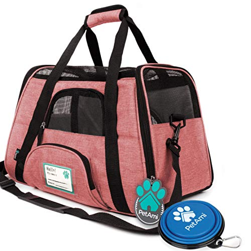 PetAmi Premium Airline Approved Soft-Sided Pet Travel Carrier | Ventilated, Comfortable Design with Safety Features | Ideal for Small to Medium Sized Cats, Dogs, and Pets (Large, Heather White Red)
