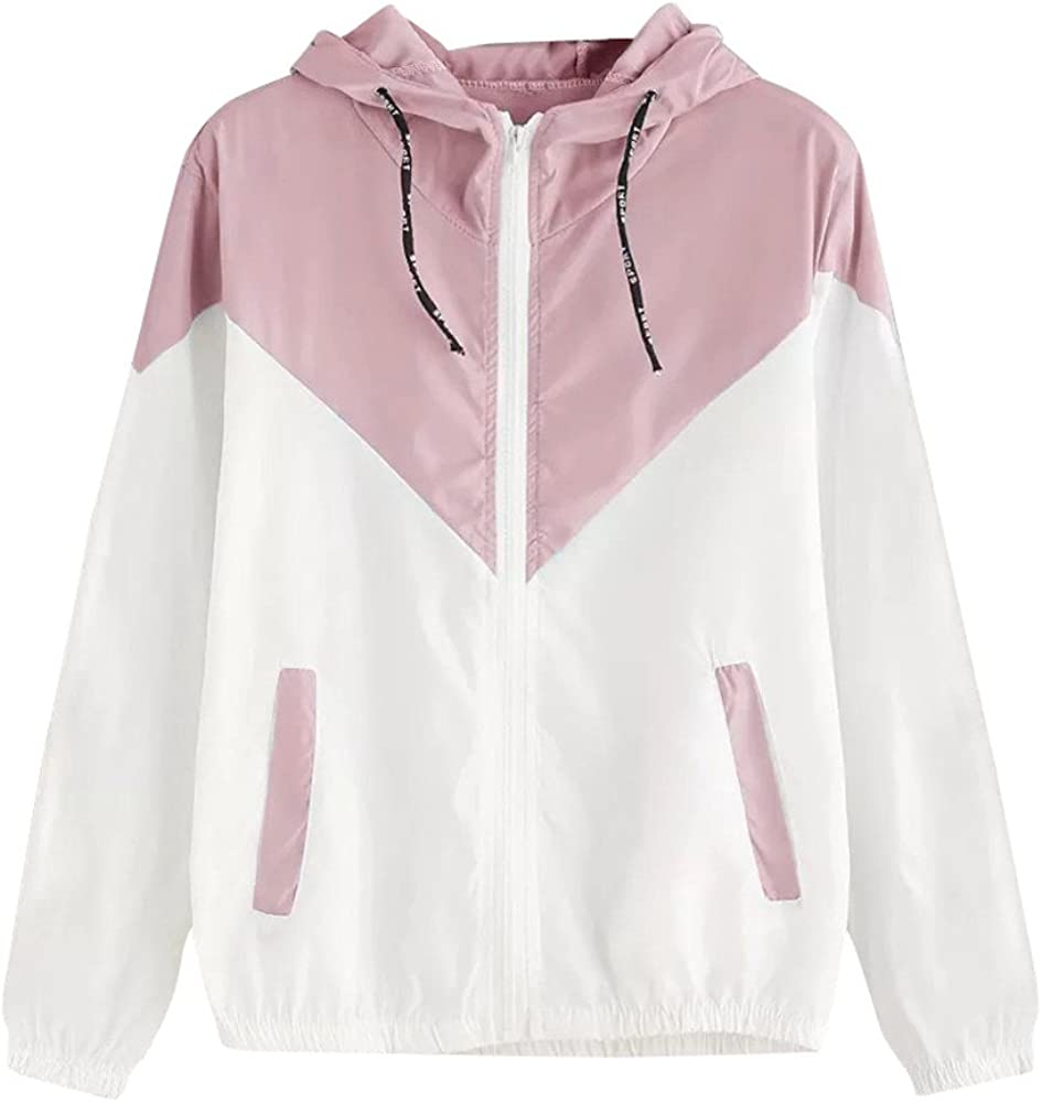 Balakie 2021 Womens Patchwork Thin Jacket Hooded Random Drawstring Zipper Pockets Sport Coat