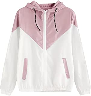 Women's Color Block Bomber Jacket Drawstring Hooded Zip Up Sports Jacket Windproof Windbreaker Hooded Casual Coats