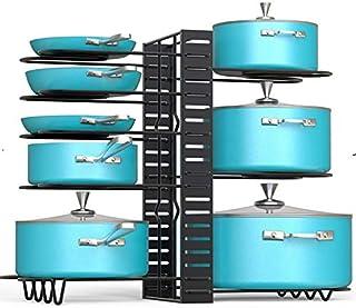 Pot Rack Kitchen Organizers 8 Tiers Pots Lids and Pans Organizer, Adjustable Large Capacity Pot Holders Non-Slip U Shape G...