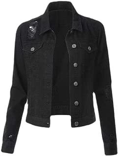 Women Regular Classic Denim Jean Jacket Cropped Long Sleeve Coat Outerwear