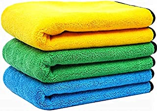 Car cleaning towel- microfiber towels for car drying- fast absorbent cloth for washing and drying car, kitchen and glass 3...